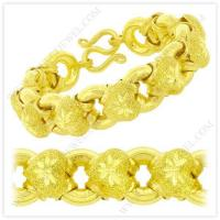 China 5 Baht Sparkling Polished Diamond-Cut Hollow Heart Donut Link Chain Bracelet in 23k Thai Yellow Gold for sale
