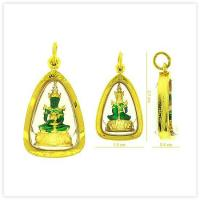 Two-Tone Emerald Buddha Amulet Pendant in 18k Yellow Gold Case for sale