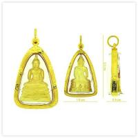 Yellow Sothon Buddha Amulet Pendant in 18k Yellow Gold Case for sale