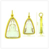 White Sothon Buddha Amulet Pendant in 18k Yellow Gold Case for sale