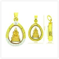 P-0096 Yellow Jinaraja Buddha Amulet Pendant in White CZ 18k Two-Tone Gold Case for sale