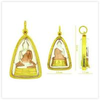 Three-Tone Sothon Buddha Amulet Pendant in 18k Yellow Gold Case for sale