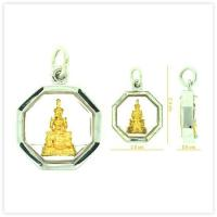 Yellow Emerald Buddha Amulet Pendant in 18k White Gold Case for sale