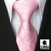 Wholesale Yibei Ties Novelty Pinks/White Paisley Check Woven Necktie Mens Neck Tie from china suppliers