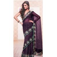 China Purple Color Ready To Wear Sarees on sale