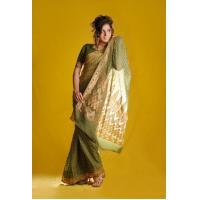 Wholesale Olive green banaras saree from china suppliers