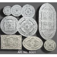 China 【6001】White linen with very heavy hand embroidery tablecloth on sale