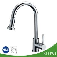 China Yazi bathroom accessories Single handle kitchen faucet with pull out sprayer on sale