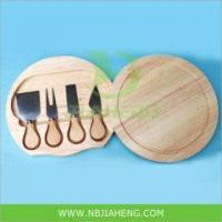Wholesale 4pcs Stainless Steel Cheese Knife Set with Wooden Cutter Board from china suppliers