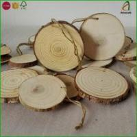 China Wholesale Wood Tree Log Disc Wood Slices Branch Button Coaster Rustic Wedding Christmas Ornament on sale