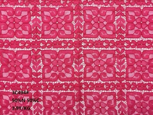 Quality Nylon & Cotton Lace Fabrics Fuschia Guipure Cupion Cord Lace Fabric for sale