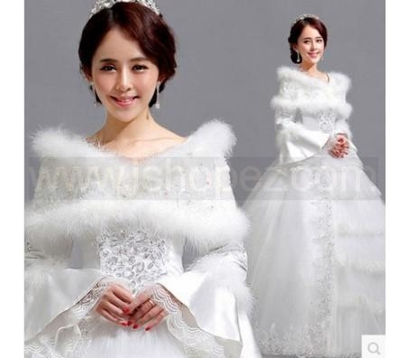 Romantic winter warm wedding dress long sleeve white for Winter wedding dresses for sale