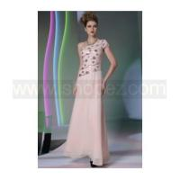 Foor length pink wedding party dress, sexy one shoulder prom dress