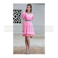 Wholesale Drape Shoulder V Neck pink short prom dress from china suppliers