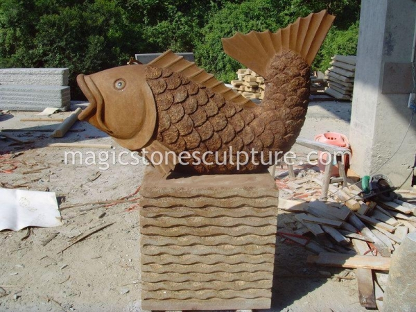 Garden stone fish statue 43153219 for Outdoor fish for sale