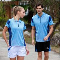 Wholesale Couple Blue Color Combination Polyester Dry Fit Running Polo Shirts with zipper from china suppliers