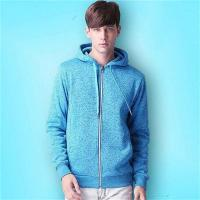 Buy cheap 100% Cotton Thin Oversized Black with White Zipper and Strings Hoodie Sweatshirts for Men from wholesalers