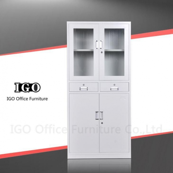 Quality Steel Cupboard Upper Glass Door Bottom Steel Door Steel Cupboard with Two Drawers for sale