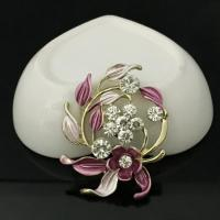 China Magnet Brooch Europe And America Drop Oil Painting Flowers Alloy Brooch on sale