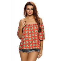 Wholesale Clubwear Tops Dark Orange Pattern Loose Fit Off Shoulder Top from china suppliers