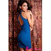 Wholesale Club Dresses Racy Lace Dress Open-back Blue from china suppliers