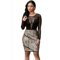 Club Dresses Long Sleeves Mesh Shadow Sequin Bottom Dress