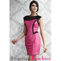Wholesale Club Dresses Megenta Black Mesh Accent Faux Leather Dress from china suppliers