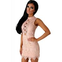 Wholesale Club Dresses Nude Crochet Cut out Mini Dress from china suppliers