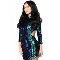 Wholesale Club Dresses Multicolor Sequins Hollow-out Club Dress from china suppliers
