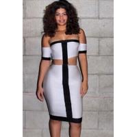 Wholesale Club Dresses Off-shoulder Black White Midi Dress with Cut-out from china suppliers