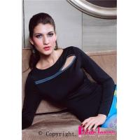 Wholesale Clubwear Tops Black Zipper Trim Long Sleeve Top from china suppliers