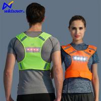 China LED Flashing Reflective Dual Warning Safety Breathable Mesh Sports Gilet Running Vest on sale