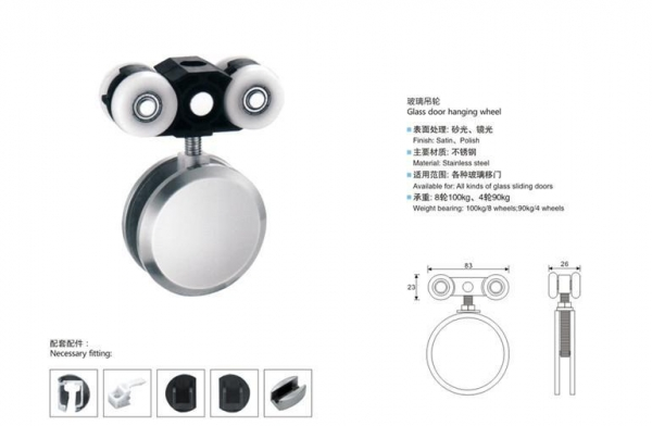 Quality YST-SD01 Glass Door Hanging Wheel for sale
