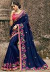 China Wedding Wear Embroidered Georgette Saree in Navy Blue on sale