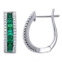 Jewelry Spark Creations 18K 1.4 Carats Emerald And Diamond Earrings