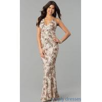 Wholesale Rose Gold Sequined V-Neck Open-Back Prom Dress MCR-2319 from china suppliers