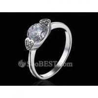 Sterling Silver Double-heart Charm Hearts and Arrows Synthetic Diamond Ring
