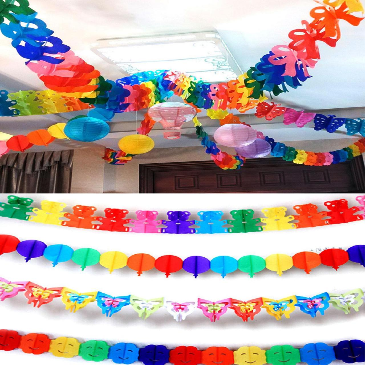 Rainbow colors Hanging Paper Garland Wedding Party Birthday Baby Banner Decor