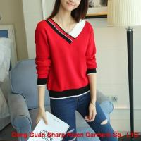Buy cheap Ladies V color collar Pullover 1708017 from wholesalers