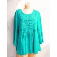 Wholesale Simply Noelle shirt Turquoise 3/4 Bell Sleeve Top crochet trim Small medium from china suppliers