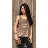 Wholesale Simply Noelle shirt Cocoa sequin sheer tank top Size L/XL from china suppliers