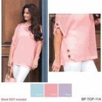 Wholesale Simply Noelle open weave top shirt button Size S to XXL ocean blue, coral, or plum lavender from china suppliers