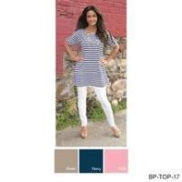 Wholesale Pretty Simply Noelle stripe tunic shirt Size S to XXL navy white or khaki white from china suppliers