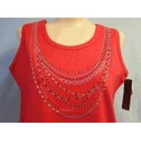 Buy cheap Christine Alexander red tank top shirt silver & red crystal necklace S to L from wholesalers