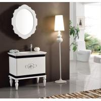 Wholesale Europe Waterproof White Lacquer Solid Wood Washroom Vanity Sets Mirror Storage Cabinet from china suppliers