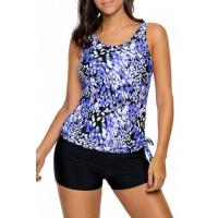 Wholesale Bluish Dewdrop Print Blouson Tankini Swimsuit Item NO: LC410274-5 from china suppliers