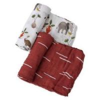 "Wholesale Swaddle Blankets, 47x47 (3 Pack)""Fox & Deer & Girafe Print"" Organic Cotton Muslin Baby Blanket from china suppliers"