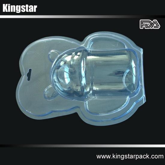 Quality vacuum formed plastic clamshell blister packaging for silicone baby feeding bottles for sale