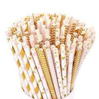 Buy cheap eco friendly biodegradable rose gold paper straws from wholesalers