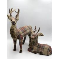 Wholesale two size cream+red+blue plaid reindeer from china suppliers
